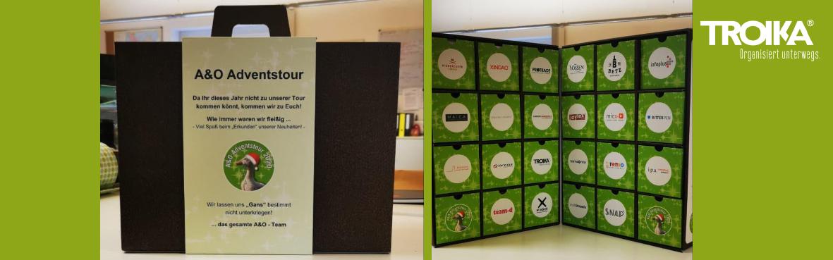 Zum einen ist die Aktionsbox zu sehen, zum anderen eine Sponsorenwand der Lieferanten mit dem TROIKA Logo.